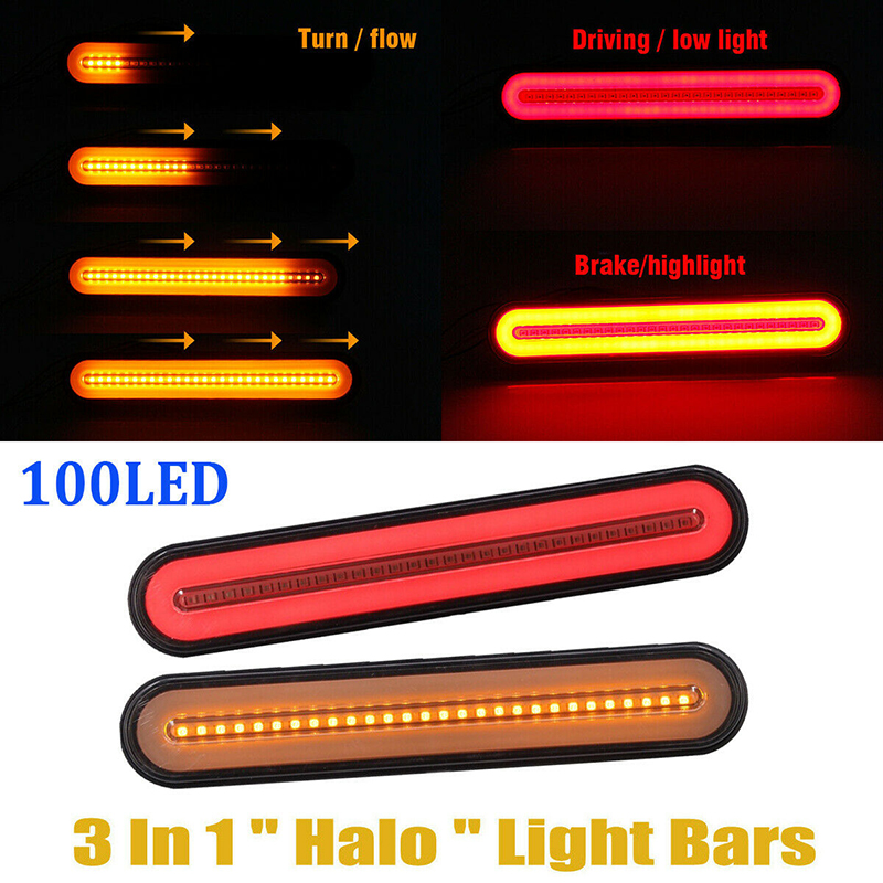 2pcs 12-24V LED Truck Trailer Lights Stop Flowing Turn Signal Brake Rear Tail Light Neon IP67 Waterproof