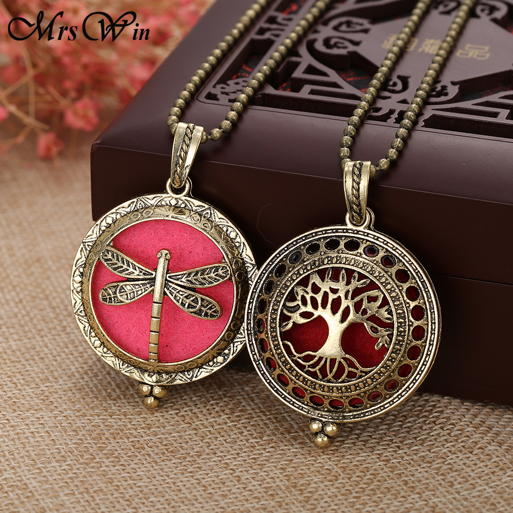 New Aromatherapy Jewelry Bronze Dragonfly Owl Tree of Life Aroma Essential Oil Diffuser Necklace Perfume Open Lockets Pendants in Pendant Necklaces from Jewelry Accessories