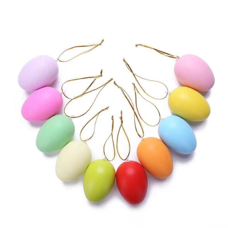20pcs Solid Color Easter Eggs DIY Hand Painted Eggs Easter Decorative Toys Children Kids Pendants Ornaments