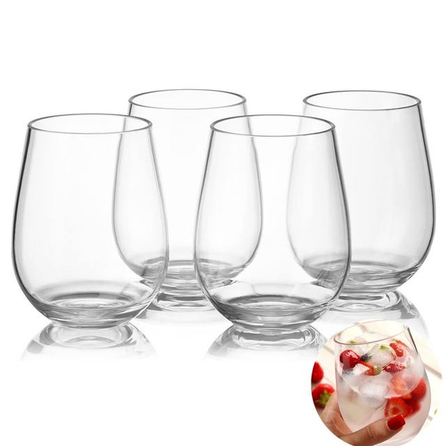 4pc Unbreakable Transparent Plastic Wine Glasses