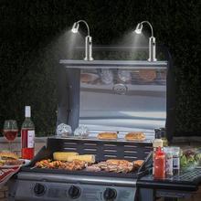 2 pçs magnético churrasco led grill luz ajustável 360 graus flexível gooseneck lâmpada de mesa para festa escritório ao ar livre indoor churrasqueira