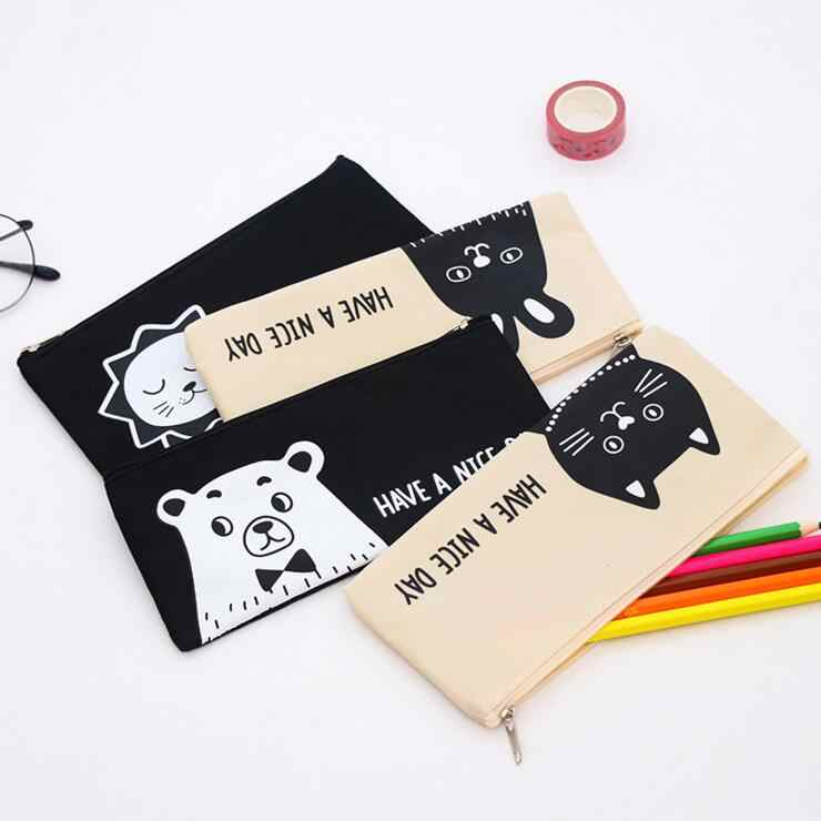 Ellen Brook 1 Piece New Cute Cartoon Kawaii Lion Cat Portable Canvas Pen Pencil Bag School Office Supplies Stationary Case