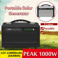 1000W Max 120000mAh Inverter Portable Solar Generator UPS Pure Sine Wave Power Supply USB LCD Display Energy Storage Outdoor