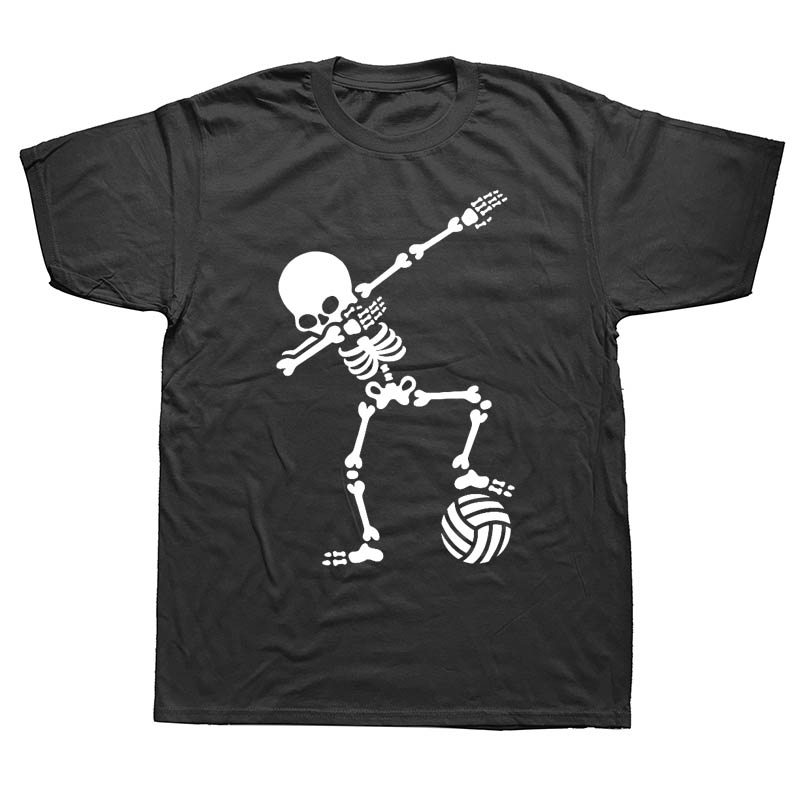 New Men Dab Dabbing Skeleton Volleyball T Shirt Casual Cotton Summer Short Sleeve Funny T-shirt Mans Tshirt Men Clothing