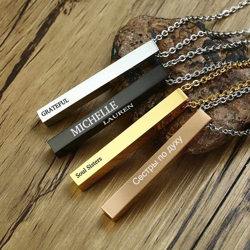 3eb02e5925 Detail Feedback Questions about Custom Name Vertical Bar Necklace  Personalized Gift Mom Necklace Baby Name Stainless Steel Unisex Jewelry  with 20inch on ...