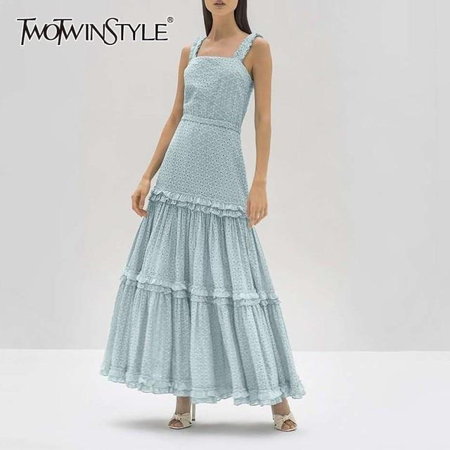 40d9882b427 Deuxtwinstyle élégant sans manches femmes robe épaule dénudée taille haute  volants longues robes femme mode 2019 vêtements d été