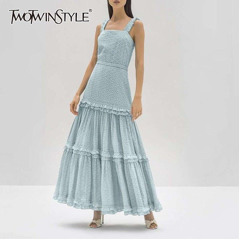 Twotwinstyle 우아한 민소매 여성 드레스 어깨 높은 허리 ruffles 긴 드레스 여성 패션 2019 여름 옷-에서드레스부터 여성 의류 의  그룹 1
