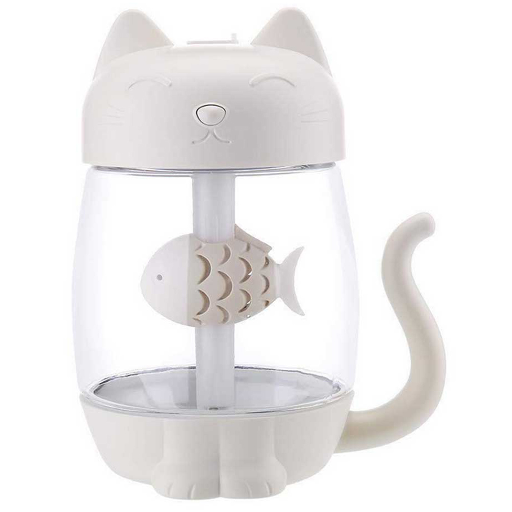 Air Humidifier 3 In 1 350Ml Usb Cat Ultrasonic Cool-Mist Adorable Mini Humidifier With Led Light Mini Usb Fan For Home Office