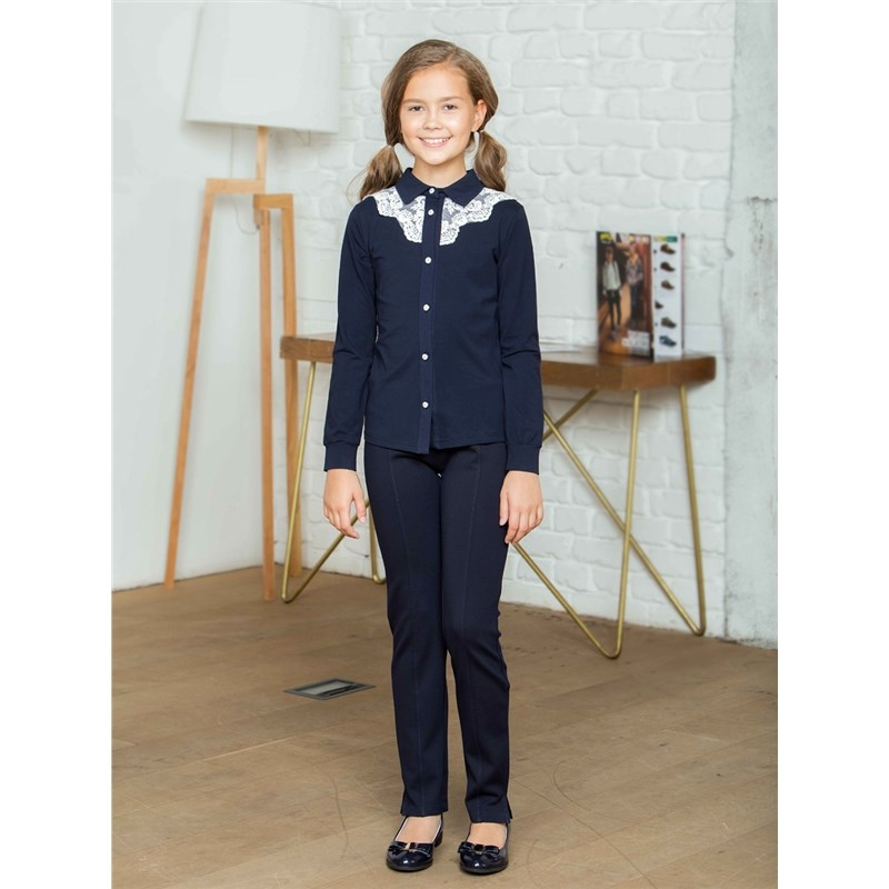 Фото - [Available with 10.11] Blouse knitted girls contrast lace keyhole back blouse