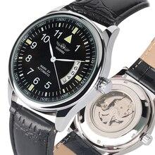 יוקרה שלד מכאני שעון רצועת עור אוטומטי עצמי מתפתל שעונים רטרו Steampunk מכאני שעונים שעון מתנות