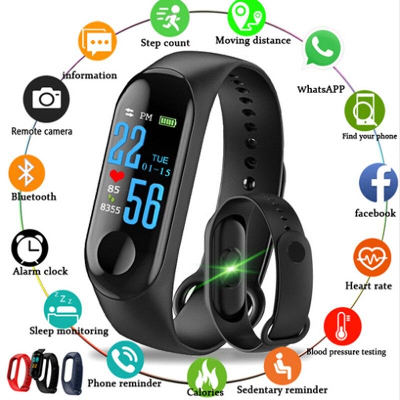 Bluetooth Relógio Inteligente M3 Sangue Monitor de Freqüência Cardíaca Rastreador De Fitness crianças Mulheres SmartWatch SmartWatch para iPhone xiaomi HUAWEI