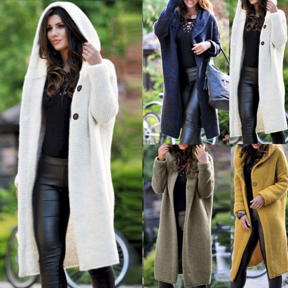 New Autumn Women Fashion Knit Sweater Long Sleeve V Neck Cardigan Casual Long Coat