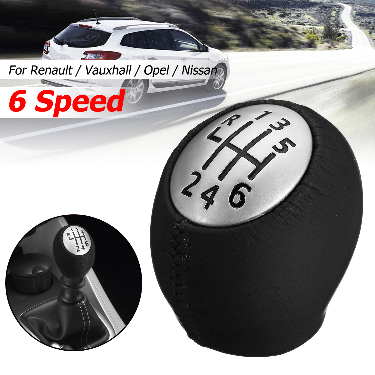 6 Speed Gear Shift Knob Leather Handle Ball For Renault Megane MK3 Clio Laguna for Vauxhall Opel for Nissan Interstar|Gear Shift Knob| |  - title=