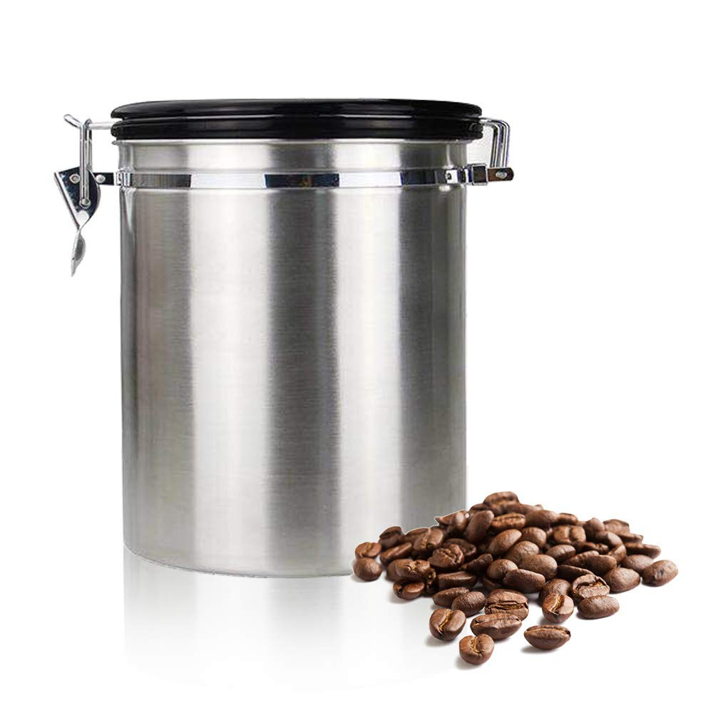 Us 13 83 19 Off Coffee Flour Sugar Stainless Steel Container Kitchen Storage Canister Vacuum Co2 Valve Large 64 6 Oz In Bottles Jars Boxes From