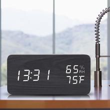 LED Alarm Temperature Humidity Reading Wooden Electronic Table Clock