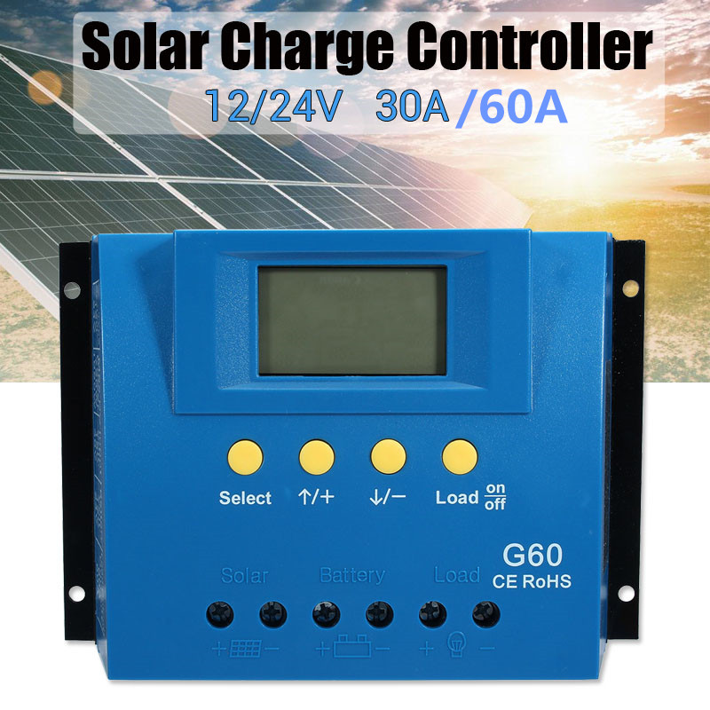 30/60A Solar Charge Controller PWN Dual USB LCD Display 12V 24V Auto Solar Cell Panel Charger Regulator