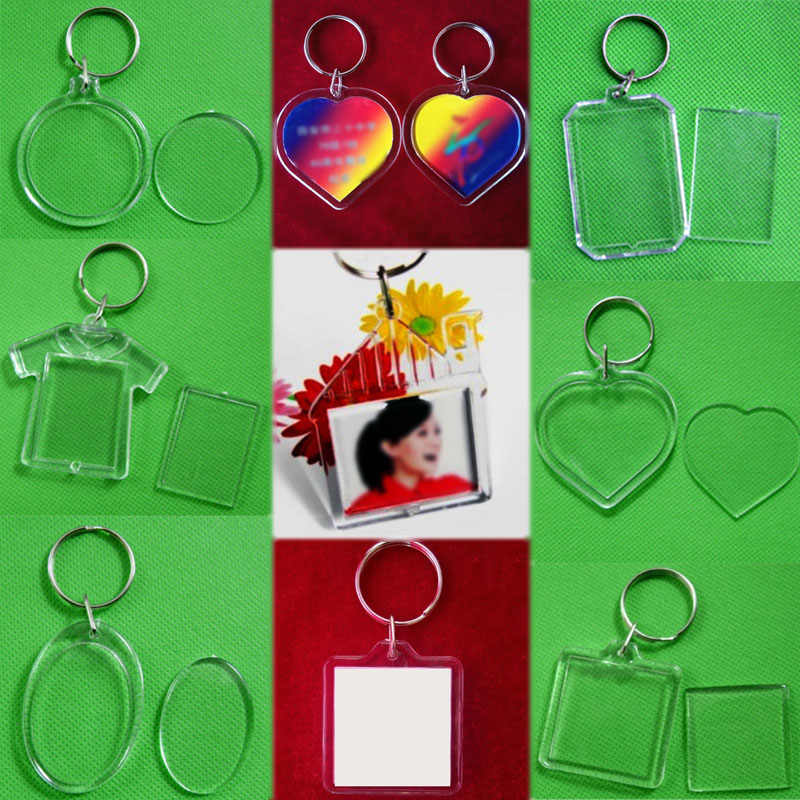 Hot New Blank Picture Frame Round Rectangle  Insert Photo Keyring DIY Unisex Acrylic 1PC Heart Women Men Transparent  Keychain