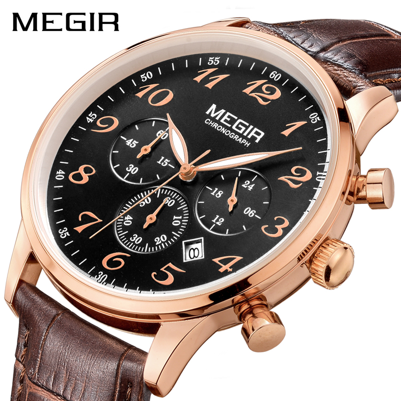 MEGIR Original Luxury Men Quartz Watch Erkek Kol Saati Chronograph Business Watches Leather Wrist Watch Clock Relogio MasculinoMEGIR Original Luxury Men Quartz Watch Erkek Kol Saati Chronograph Business Watches Leather Wrist Watch Clock Relogio Masculino