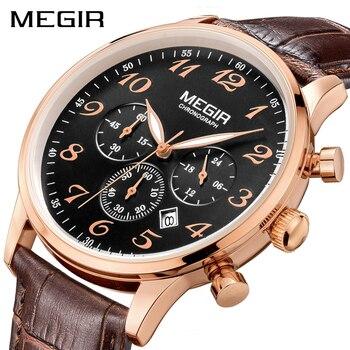 0fa62c64482d Reloj MEGIR Original de los hombres de lujo reloj de cuarzo Erkek Kol Saati  cronógrafo relojes reloj de pulsera de cuero reloj Relogio Masculino
