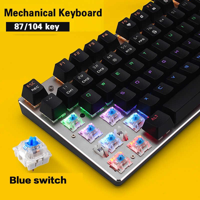 METOO ZERO игровая механическая клавиатура синий/черный/красный переключатель анти-ореолы подсветка Teclado Проводной USB для геймера английский/русский