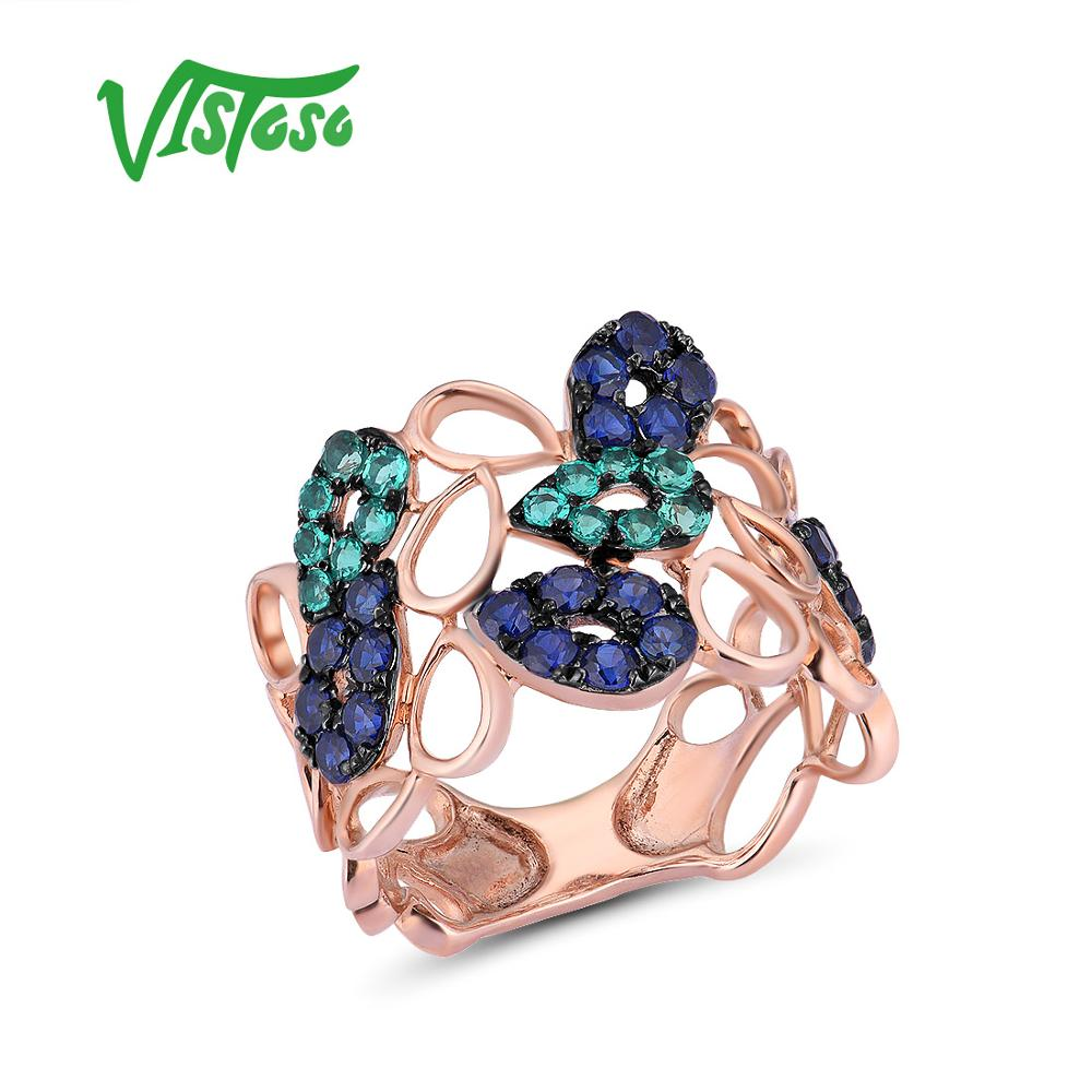 VISTOSO Genuine 10K Rose Gold Drop Hollow Ring For Lady Created Sapphire Created Emerald Fashionable Unique