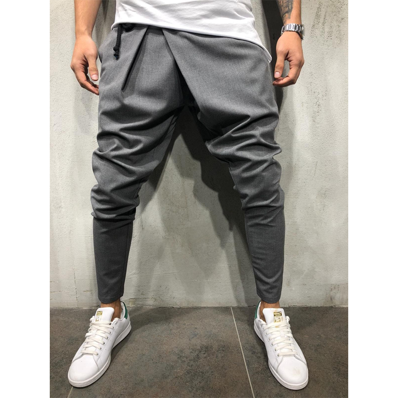 Men Hip Hop Streetwear Asymmetrical Ankle Irregular Pants Male Fastening Drawstring Trousers Casual Slim Fit Street Fashion Pant