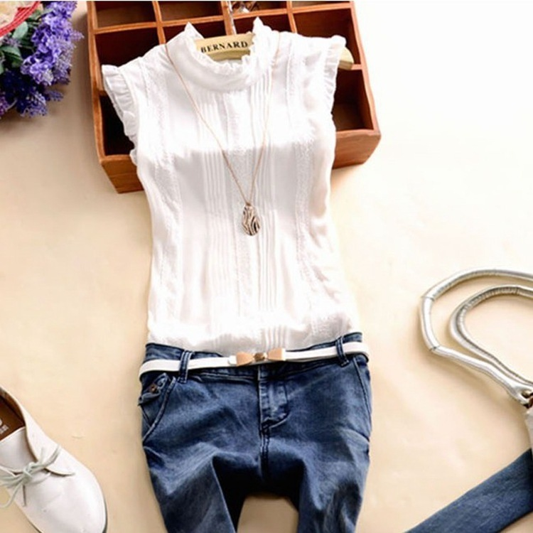 2019 Summer New Fashion Women Sleeveless Solid Lace Chiffon Blouses Shirts 5 Colors Plus Casual Tops Party Shirts Blusas