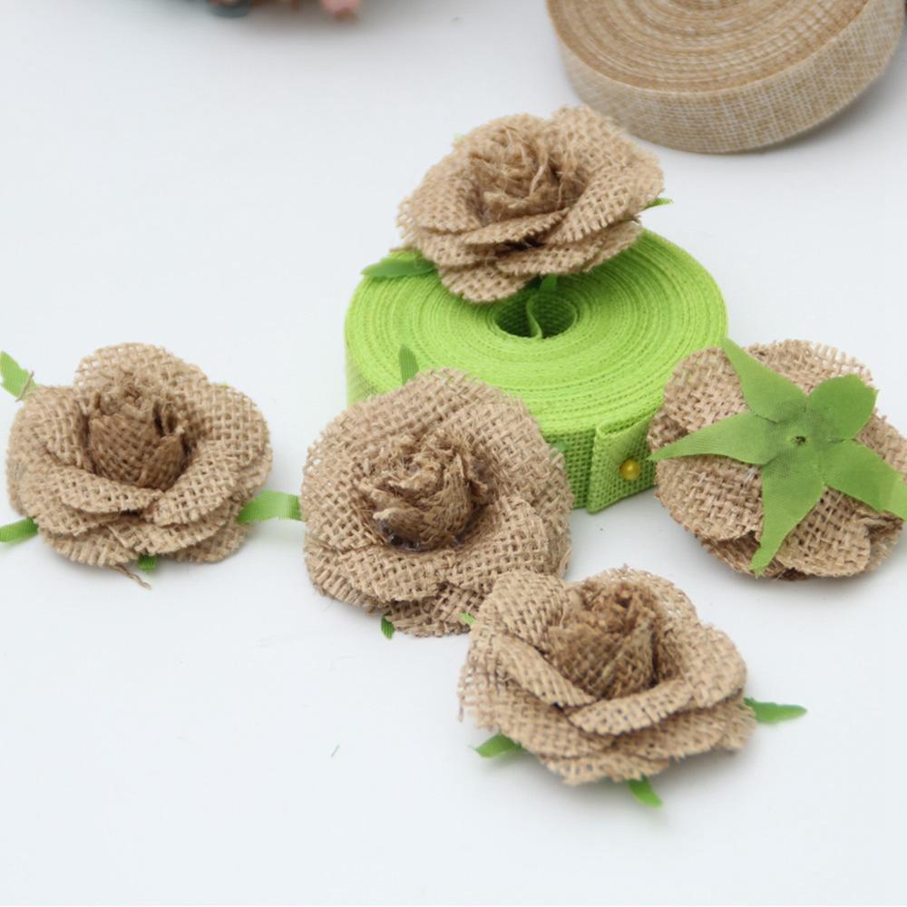 Taoup 10pcs Retro DIY Sackcloth Vintage Rustic Wedding Events Party Favors Supplies Juta Hessian Jute Burlap Flowers Rose Shabby