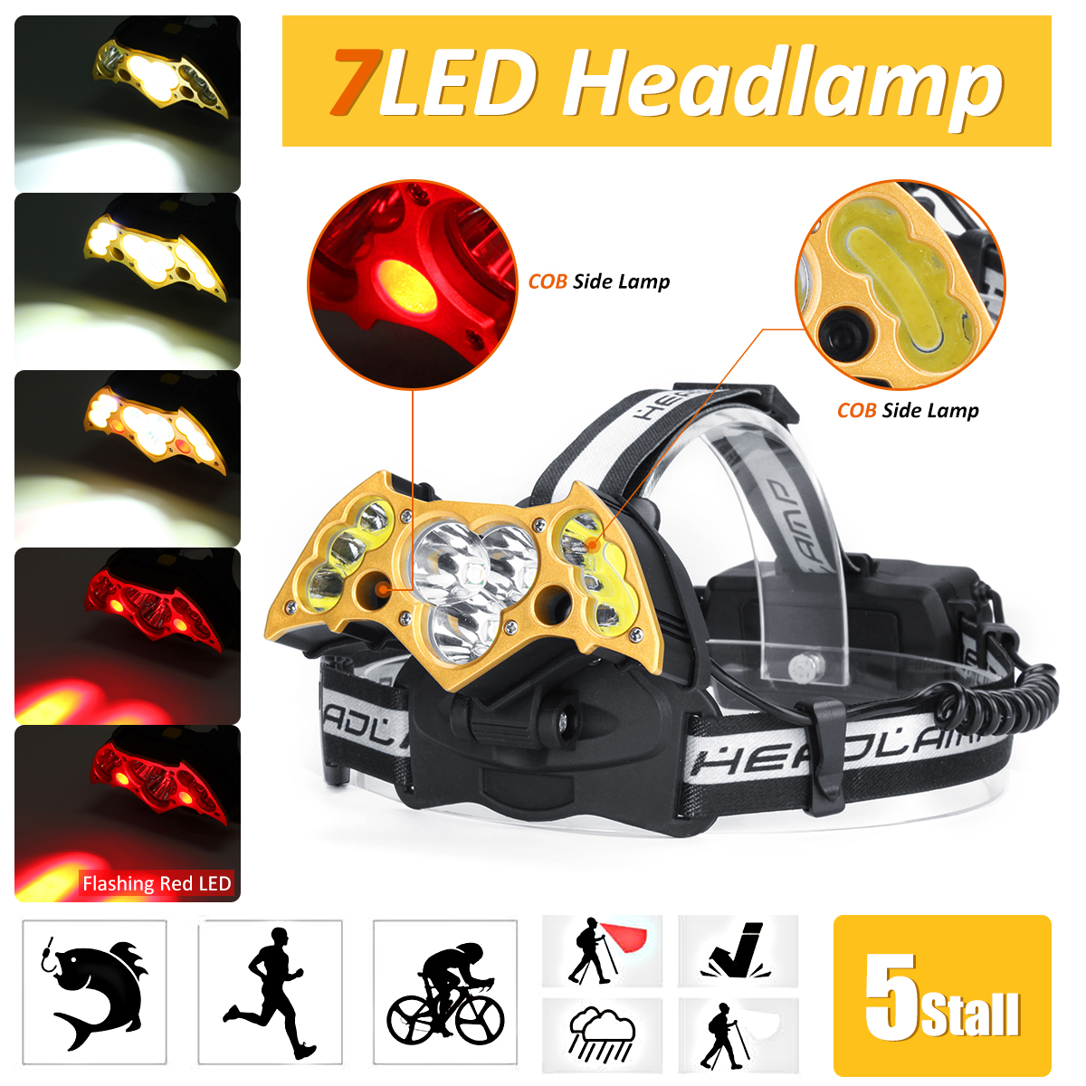 Smuxi Headlight 3*T6 + 2*COB + 2* Red LED Head Lamp USB Rechargeable Flashlight Torch Head Light Fishing Lanterna 18650 Battery 30w led cob usb rechargeable 18650 cob led headlamp headlight fishing torch flashlight