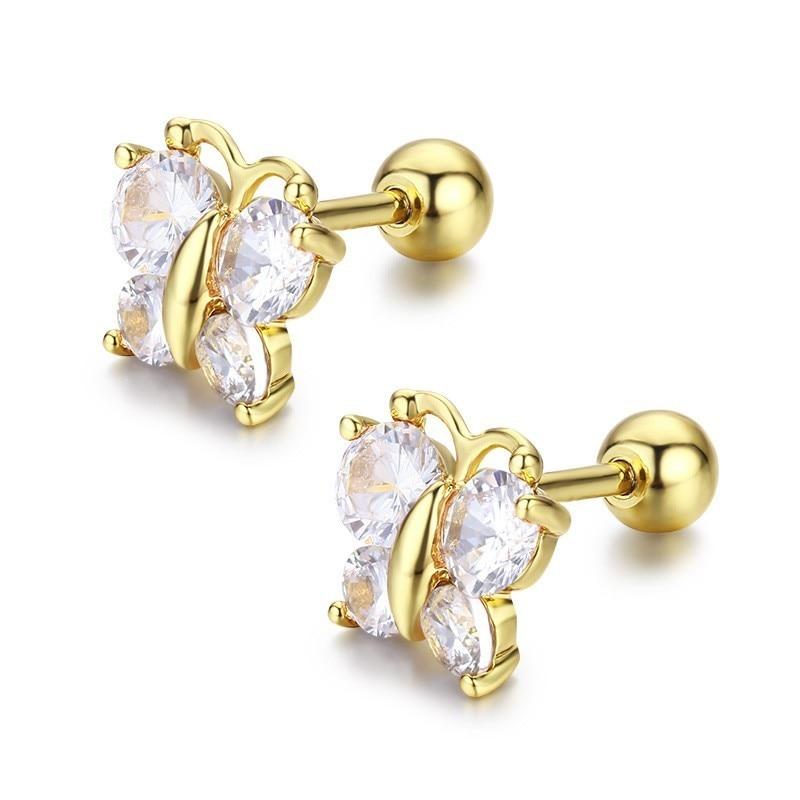 Cute Butterfly Cubic Zircon Small Screw Back Stud Earrings For Women Kids Children Baby Girls Gold Color Jewelry Aros Oorbellen