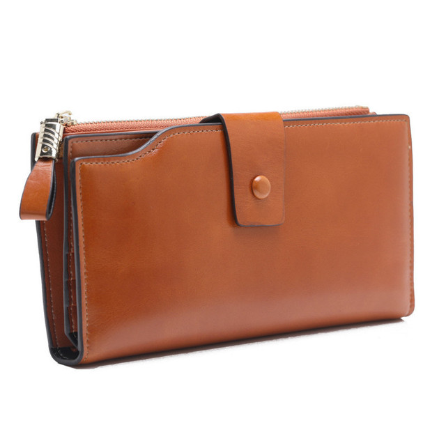 Fashion Genuine Leather Women Wallet Female Cell Phone Pocket Long Women Purses Hasp Oil Wax Leather Lady Coin Purse Card Holder 4