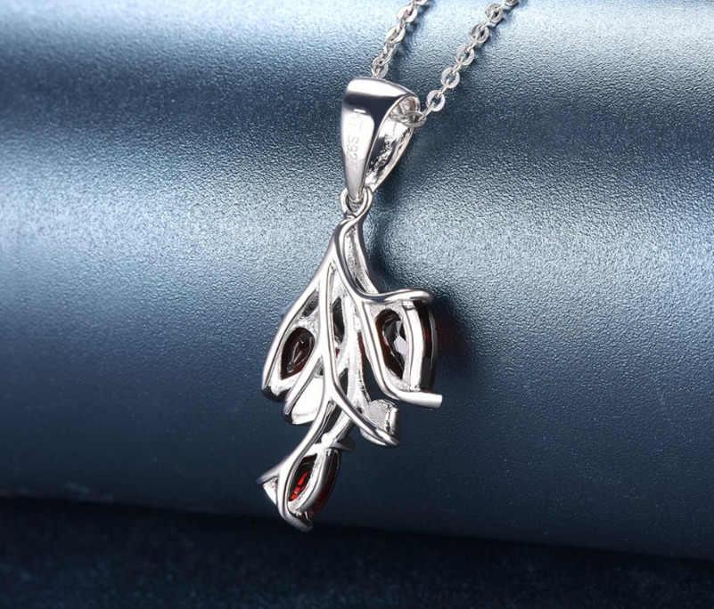 ใหม่ 925 เงินสเตอร์ลิงหินธรรมชาติโกเมน Leaf จี้สร้อยคอแฟชั่นเครื่องประดับ Collier สำหรับผู้หญิง Bijoux Femme Colar