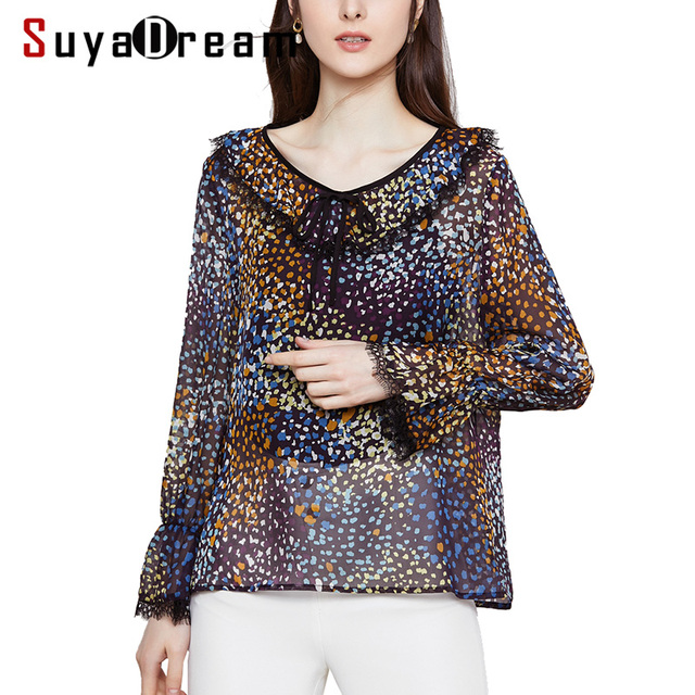 Women Silk Blouse 100% REAL SILK GEORGETTE Printed Blouses for Women V Neck Long Sleeved Lace Shirt 2019 Spring New Blouses