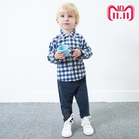 Toddler Time Limited Rushed Full Autumn Little Boys Baby Casual Gentleman Plaid Turn Down Long Sleeve Clothing Sets Child Set