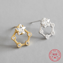 Korea Hot Style Pure 925 Sterling Silver Earrings for Women Delicate Fashion Gold Starfish Stud Earring Jewelry 2018 japanese style asymmetric starfish shell crystal stud earring women girl cute beach vacation starfish earring
