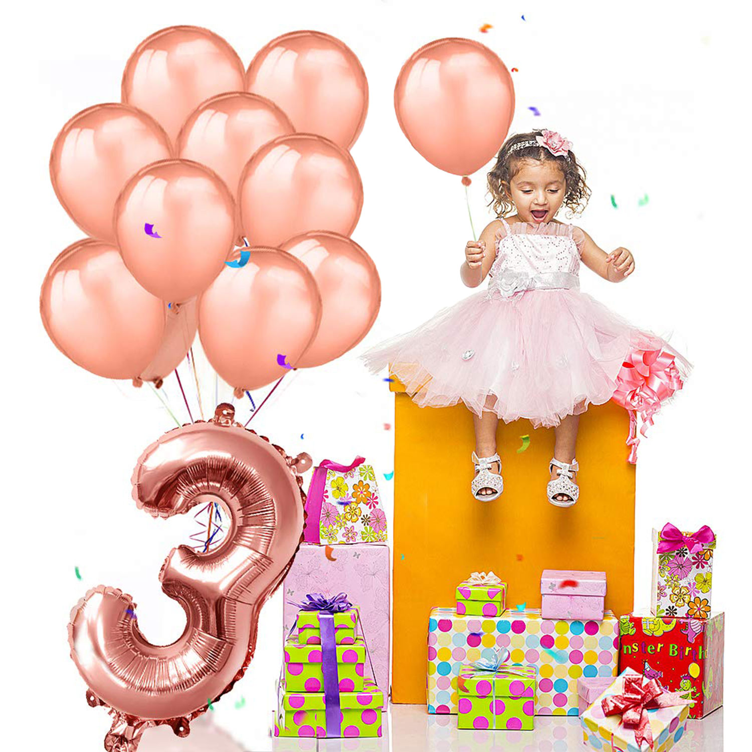 ZLJQ Rose Gold Number 3 Birthday Balloons Foil Helium 3rd Years Old Decoration Party Supplies Kid In Ballons Accessories From