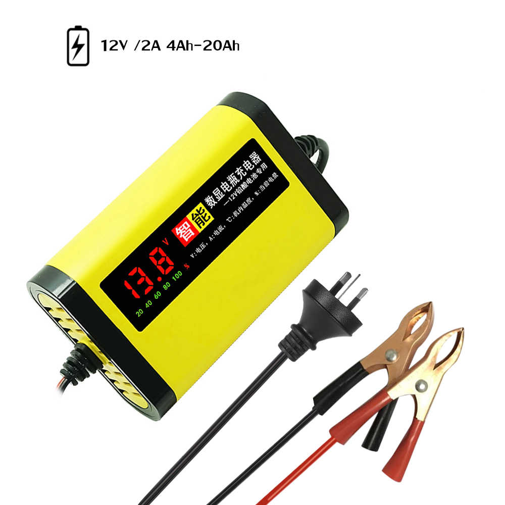 Auto Moto Battery Charger 12V 2A Automatico Pieno 3 Fasi Al Piombo AGM GEL Display LCD Intelligente Accessori Per Auto