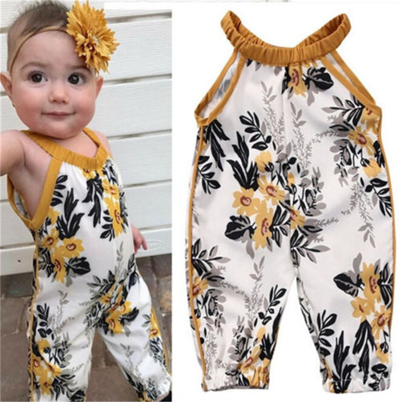 Summer Infant Toddler Kids Baby Girls Clothes Romper Sleeveless Floral Print Jumpsuit Clothes Outfit Set