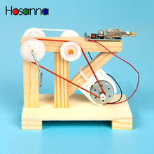 Kids DIY Hand Crank Generator Electric Science Toys Kit Light Up LED Light Wooden Blocks Learning Educational Toys for Children