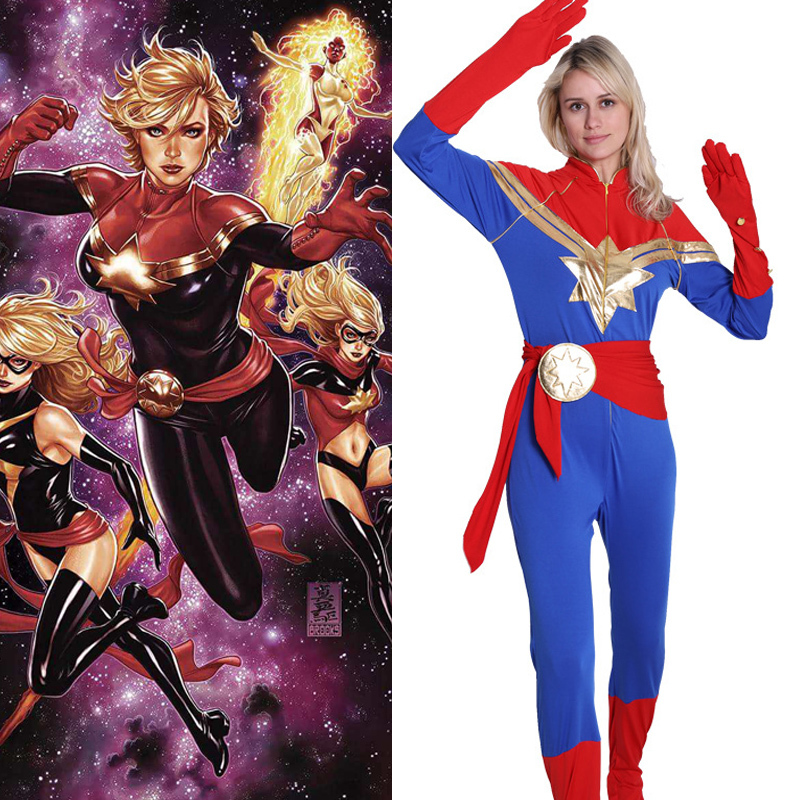 Captain Marvel Cosplay Costume Carol Danvers 2019 Superhero Halloween Costumes Ms. Marvel Jumpsuit  Girls Movie Bodysuit Costume