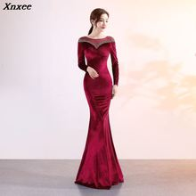 Xnxee Women Elegant Wine Red Vevelt Long Sleeve Floor Length Mermaid Slim Maxi Formal Evening Party Dress Vestidos Verano