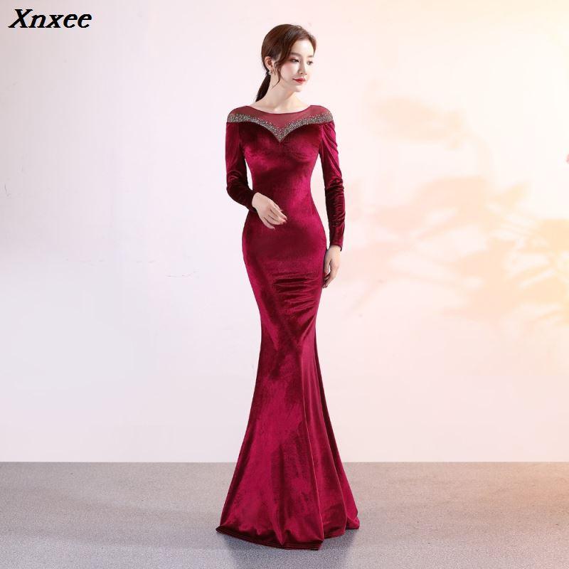Xnxee femmes élégant vin rouge Vevelt à manches longues Long étage longueur sirène mince Maxi formelle soirée robe de soirée Vestidos Verano