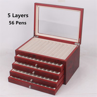 5 Layer 56 Pen Slot Pen Fountain Wood Display Case Holder Wooden Pen box Storage Collector Organizer Box Black Red