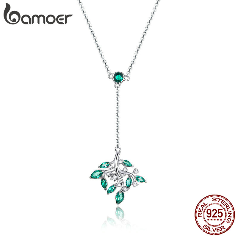 BAMOER Authentic 925 Sterling Silver Tree of Life Long Chain Female Pendants Necklaces for Women Silver Jewelry Collar BSN036BAMOER Authentic 925 Sterling Silver Tree of Life Long Chain Female Pendants Necklaces for Women Silver Jewelry Collar BSN036