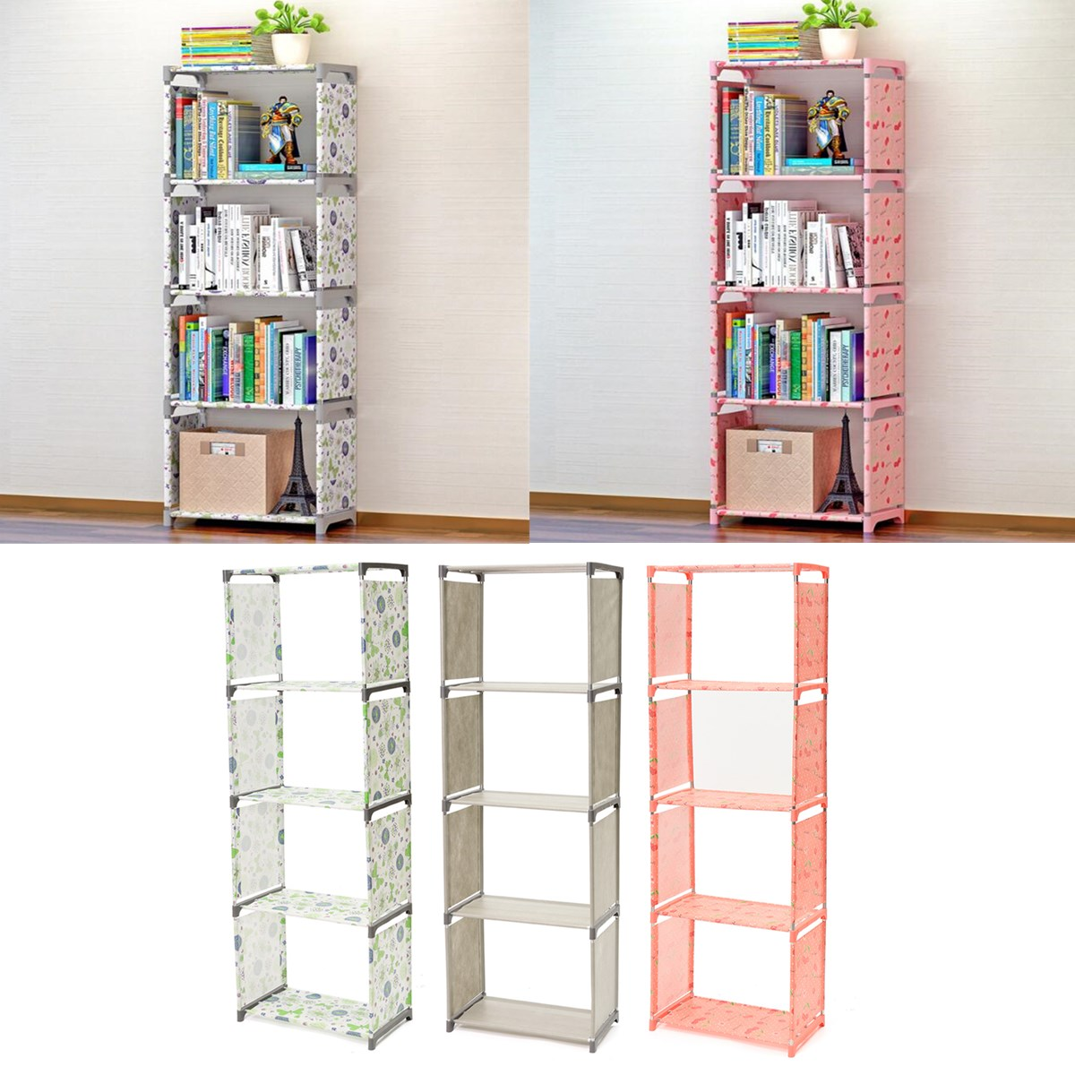 Bookcase Cabinet Us 25 4 27 Off Multi Tier Bookshelf Storage Shelf For Books Plants Sundries Diy Combination Cabinet Furniture Fabric Children Bookcase 4 Layer In