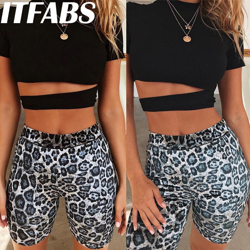 Summer New Womens Leopard Printed   Shorts   Stretch Biker Sexy   Shorts   Workout Nylon   Short   Trousers Fashion