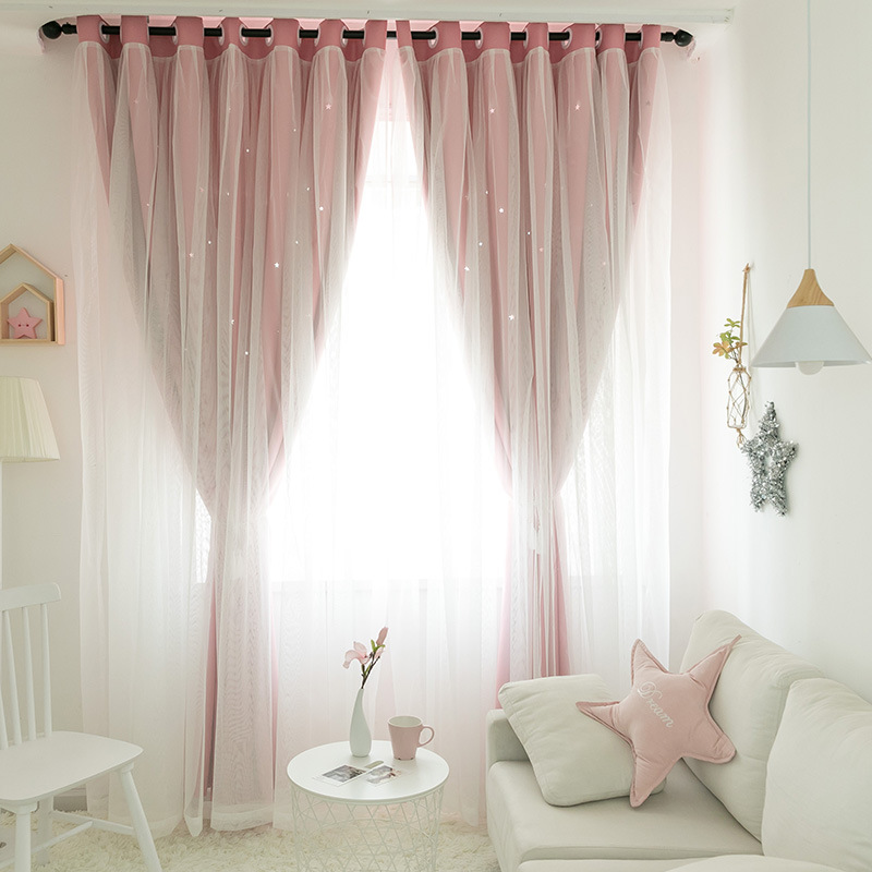 Popangel New Style Curtains Korean Double Princess Cutout Star Blackout Curtains Girl Bedroom Shading Finished Curtain Fabric