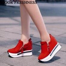 活力鮮度女性の靴プラットフォームスニーカー春高隠しかかとの靴女性のキャンバスシューズ秋の女性スニーカー WY98