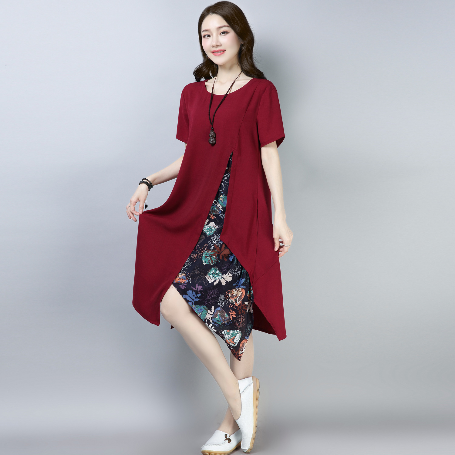 New 2019 Fashion Spring Summer Women O neck Short Sleeve Cotton Linen Dress Female Casual Party Dresses Vestidos in Dresses from Women 39 s Clothing