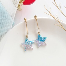 New Temperament Personality Color Sequins Stars Earrings Star Design Blue Shiny Earring